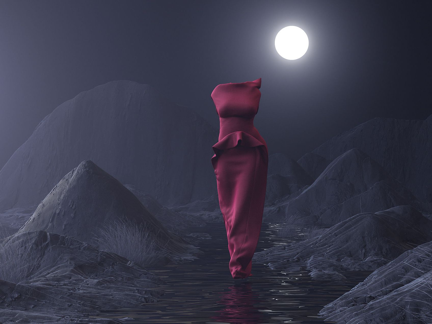 3D graphic of fashion garments walking as if worn by models through a barren futuristic landscape