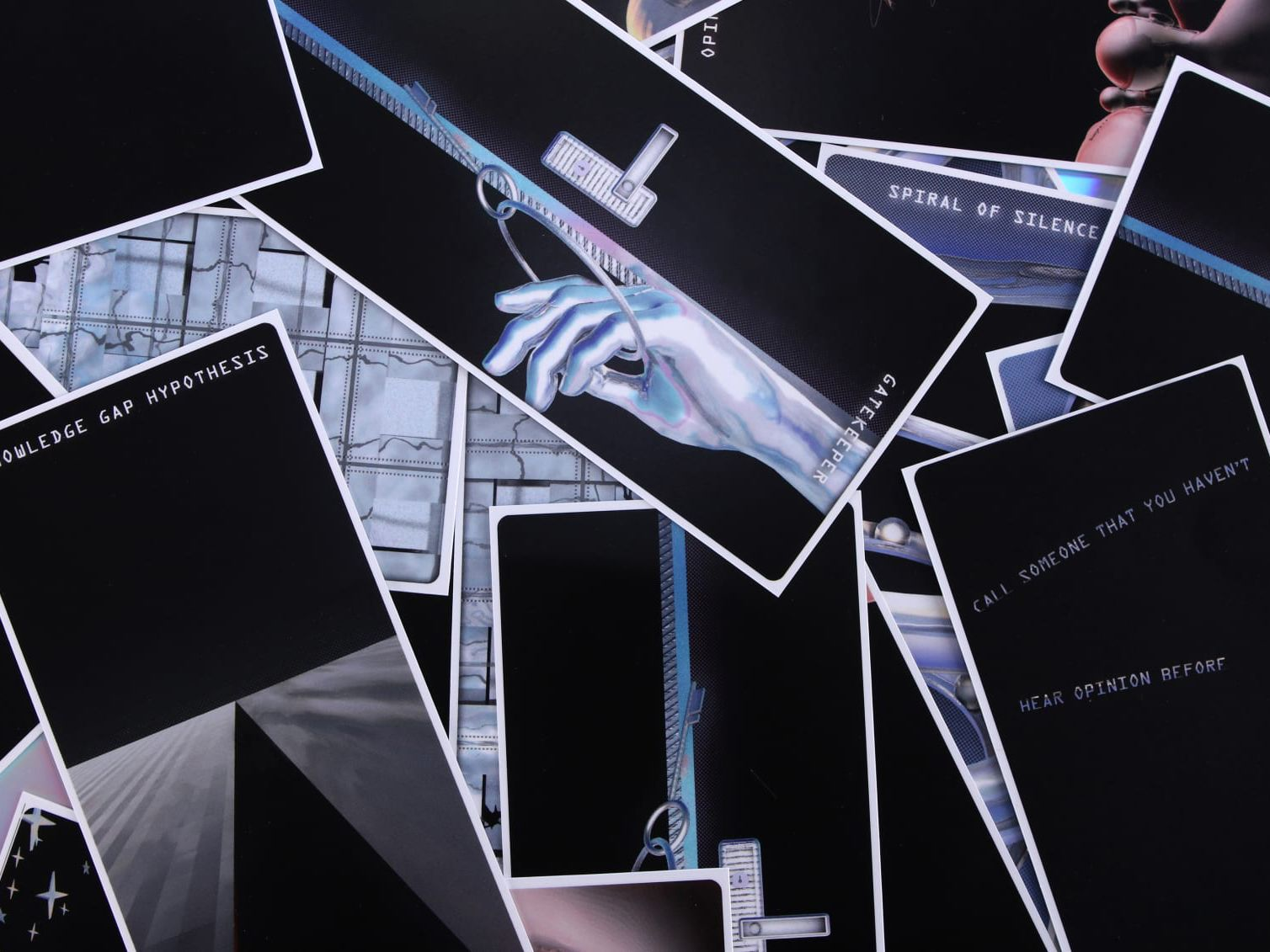 An arrangement of holographic flash cards.