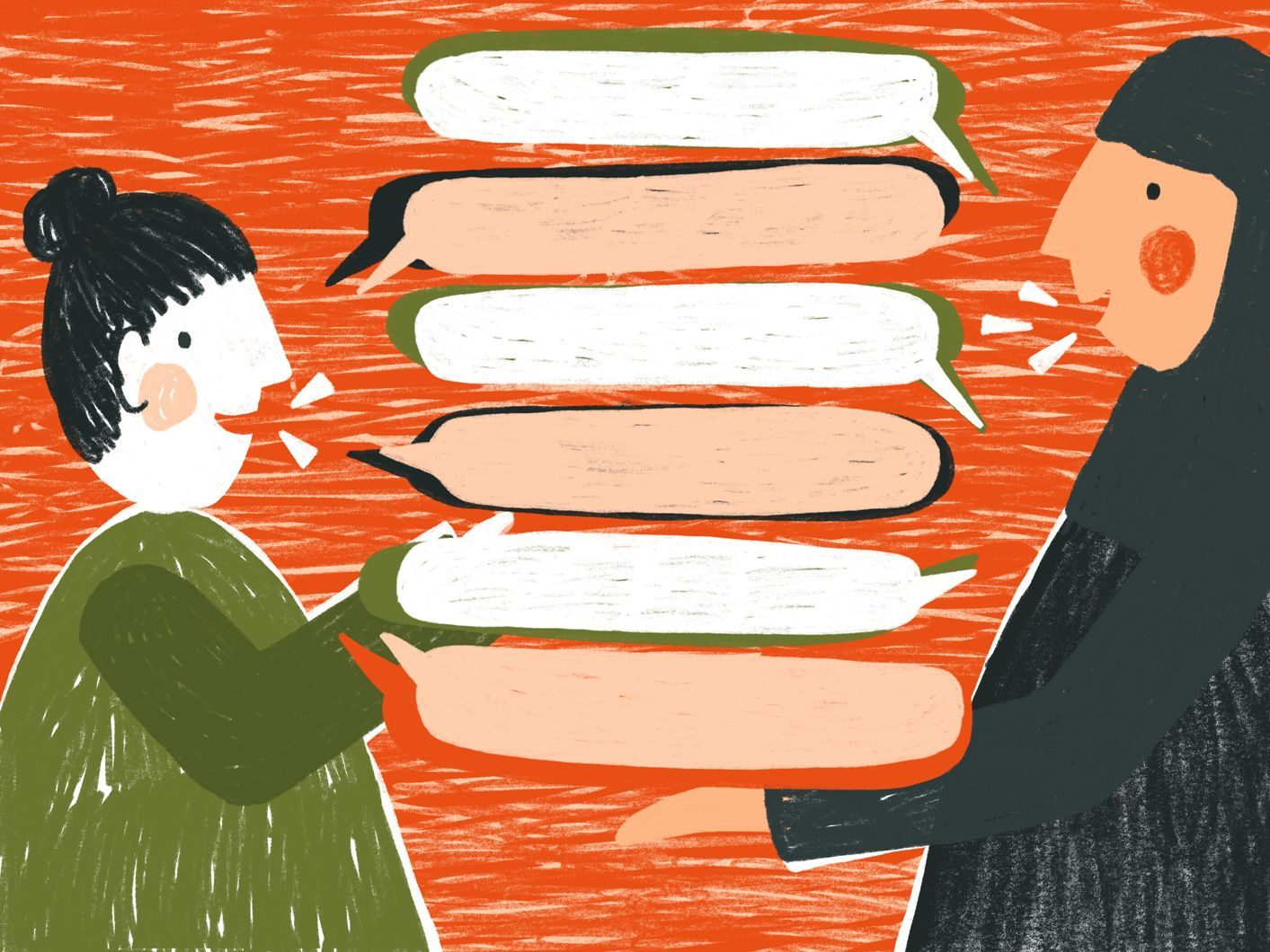 Illustration of two people having a conversation