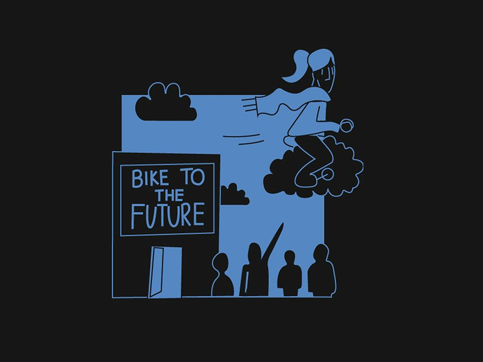 A cartoon-style graphic of a cyclist.
