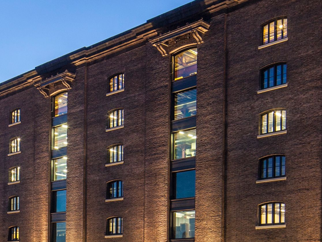 Exterior of Central Saint Martins' Granary Square building at night