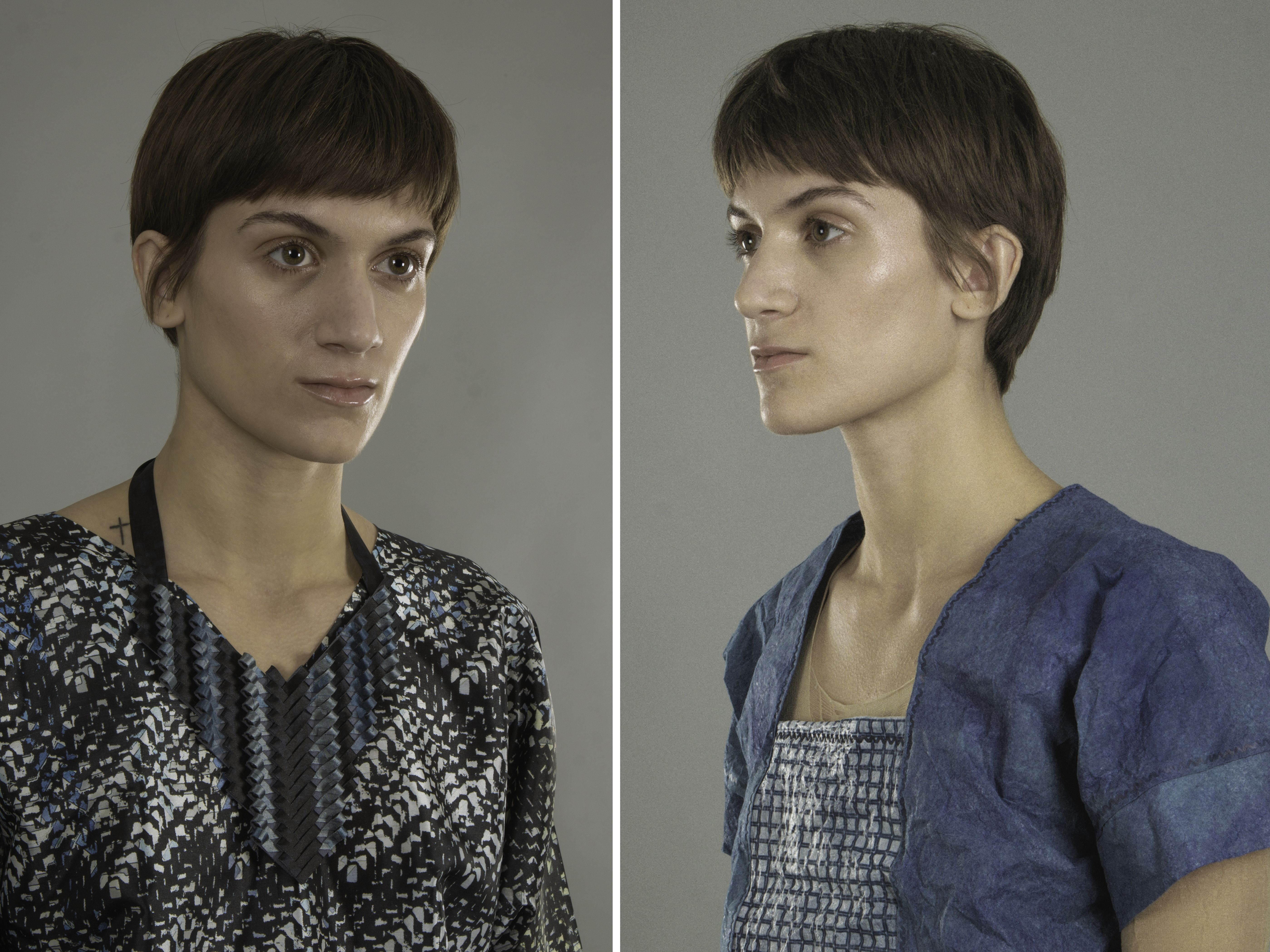 Three images of model wearing various materials