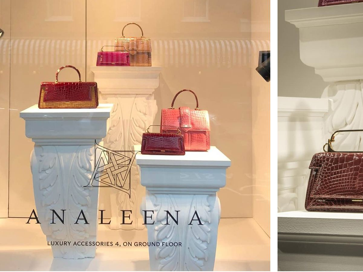 Harrods Shop Window with Analeena handbags on display