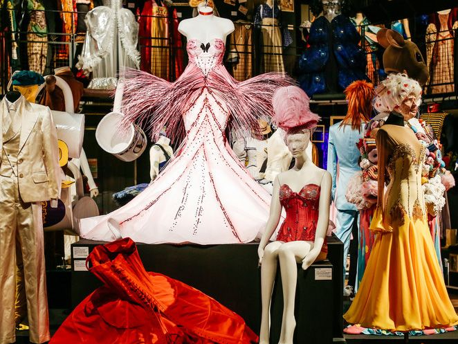 Display of costumes at a degree show
