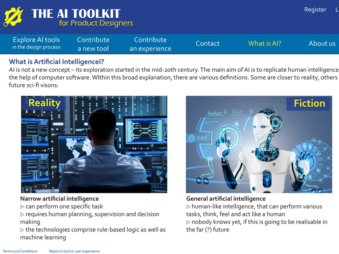 Screenshot of website which asks the question 'What is artificial intelligence?'