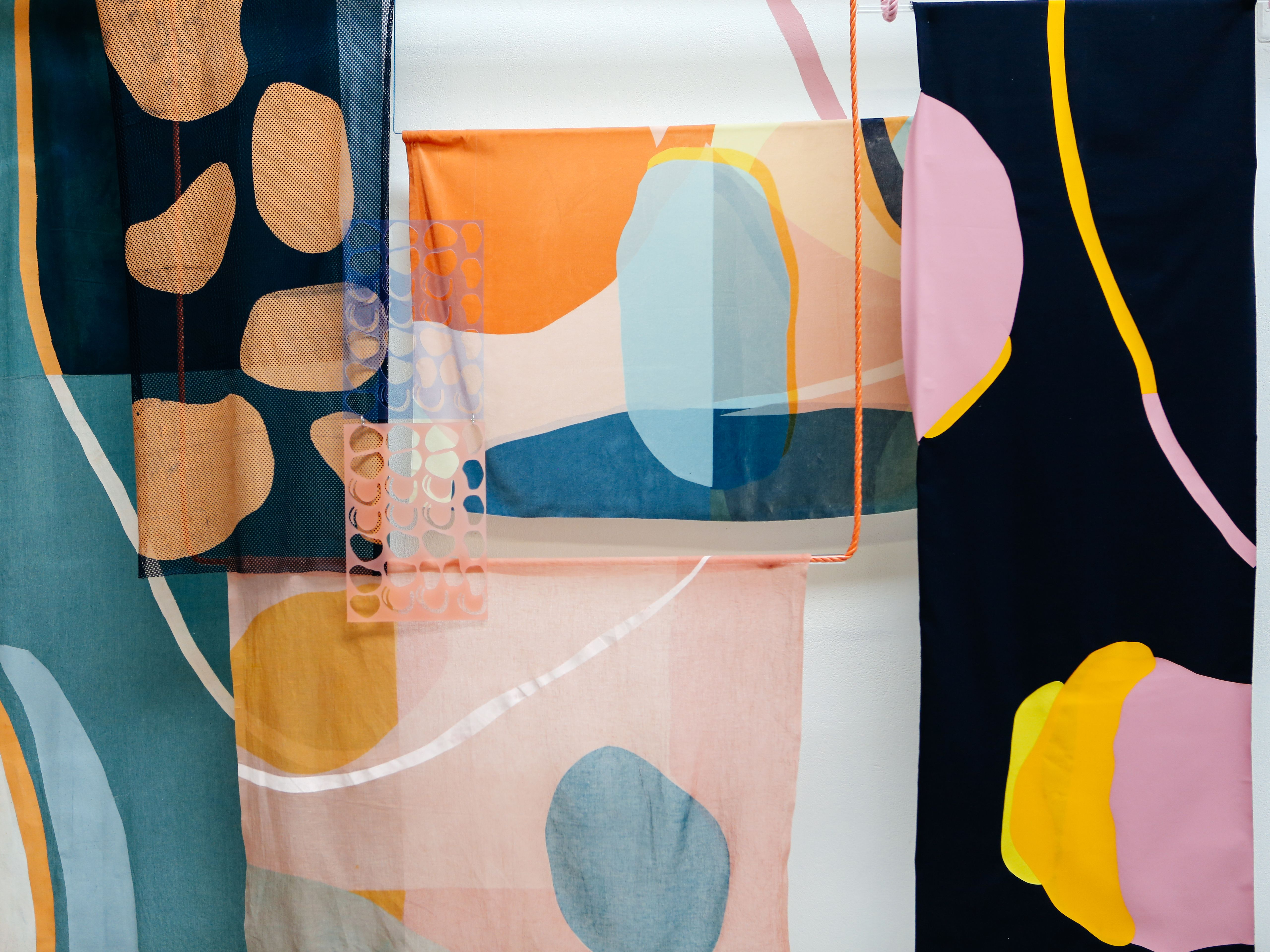Textiles with organic shapes by Tayla-Jayne Sander