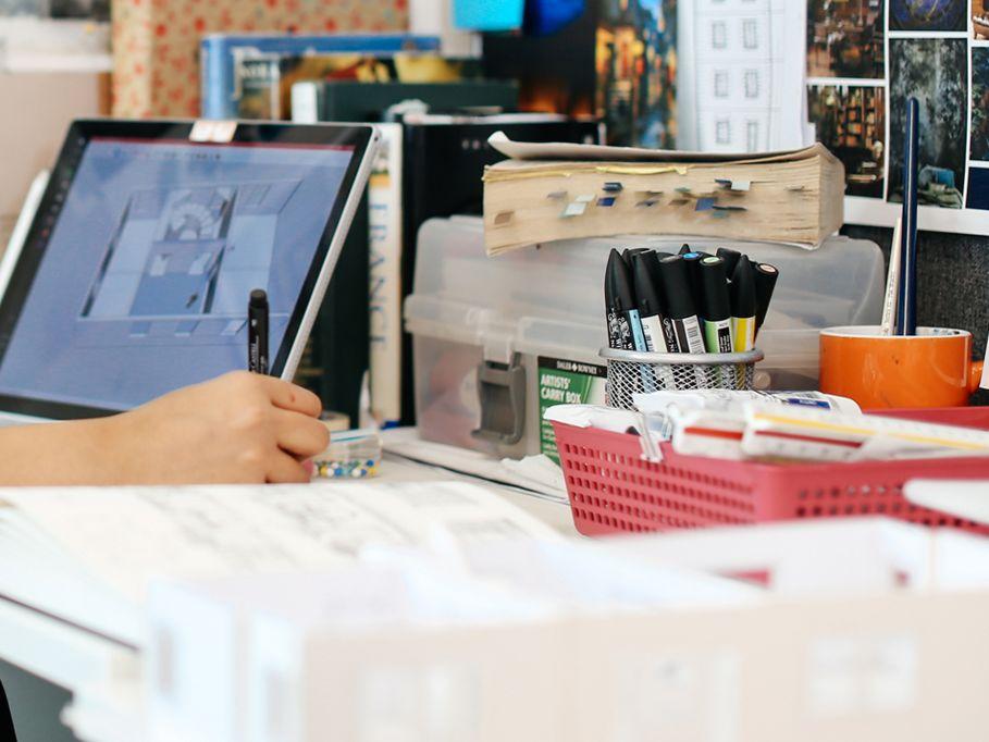 Avni Goyal working in the studio.
