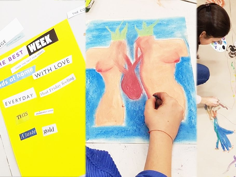 Examples of Health and Wellbeing Through Art Making Short Course work being made by students in the studio.