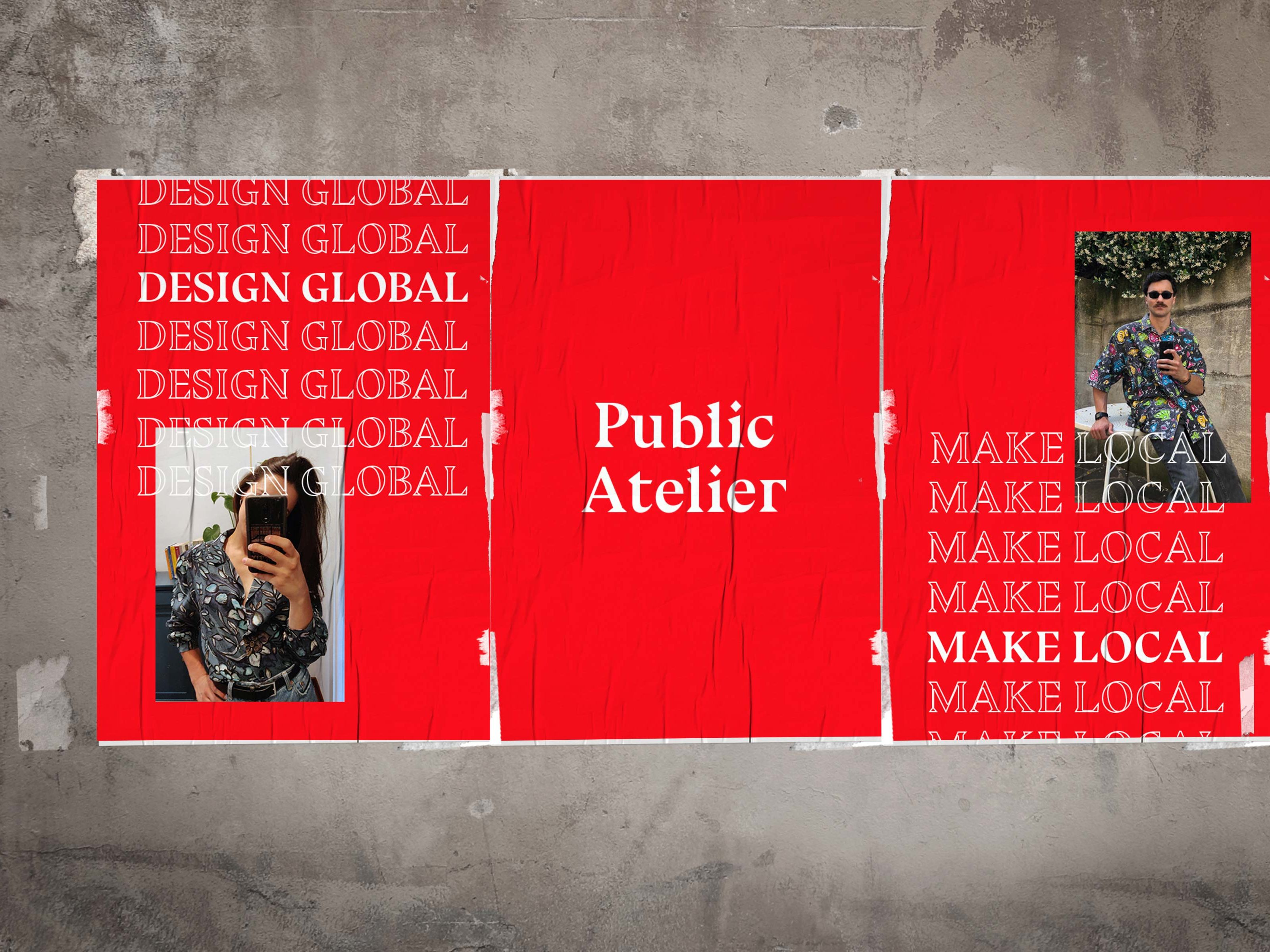 Red posters reading 'Public Atelier' on wall