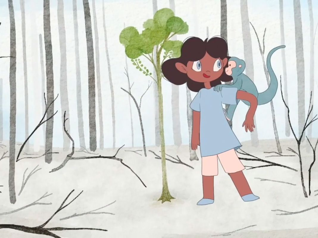Animated still of a girl and a monkey planting a tree.