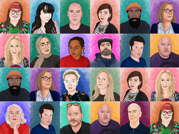 A series of portraits illustrated in bright colours