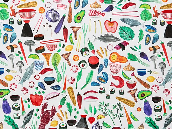 A spread of colourful fruit and vegetables.