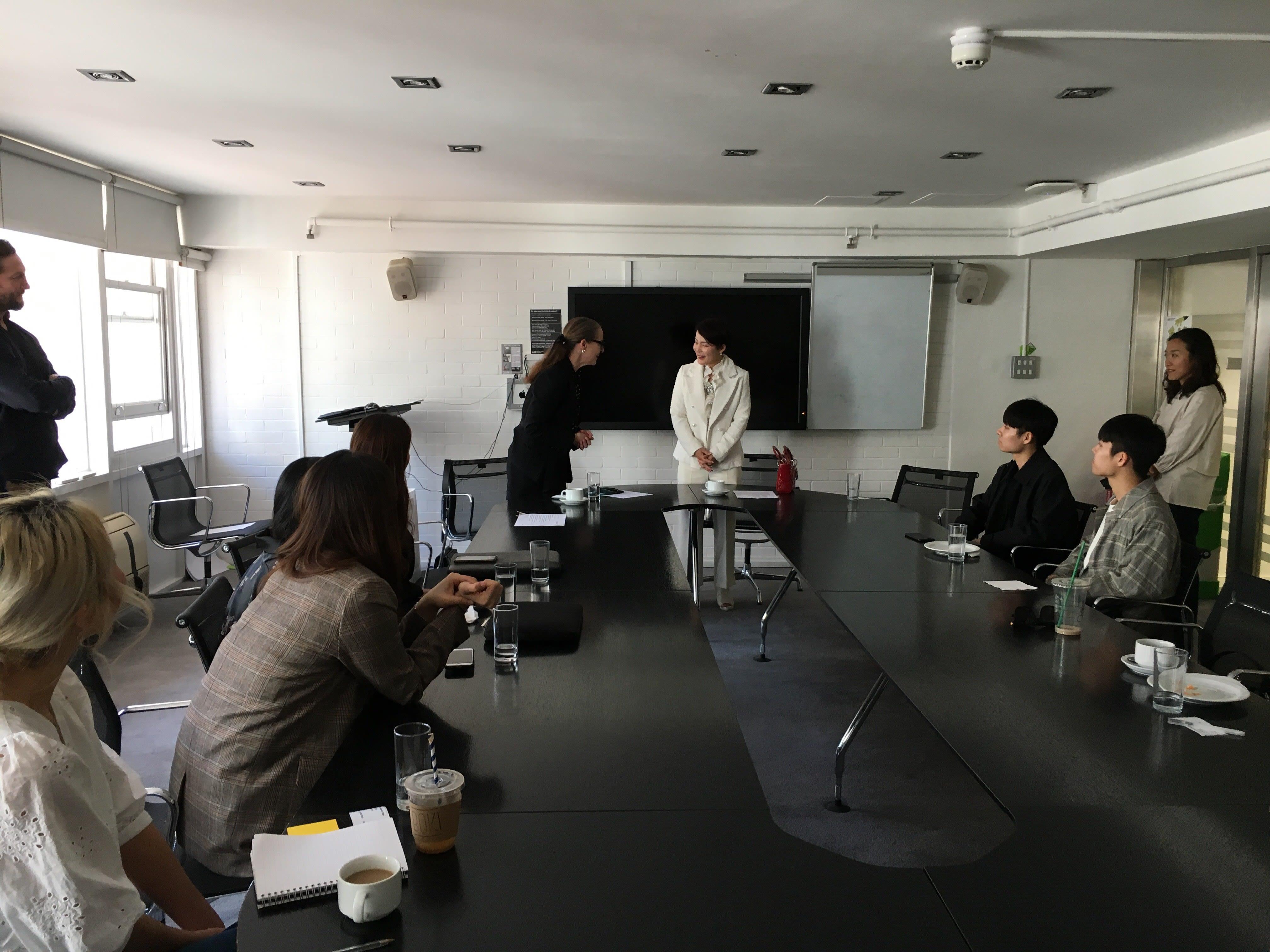 South Korean ambassador Enna Park meeting Professor Frances Corner and students at London College of Fashion, UAL