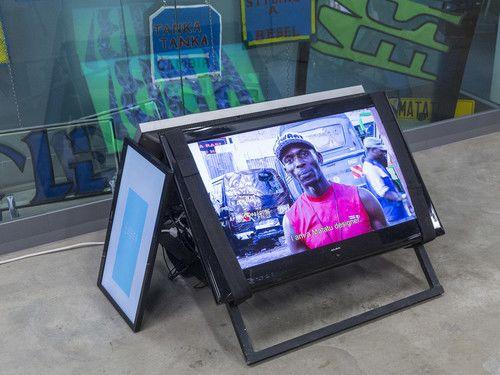 Multimedia Installation with video by Odira Morewabone, CSM, John Sturrock