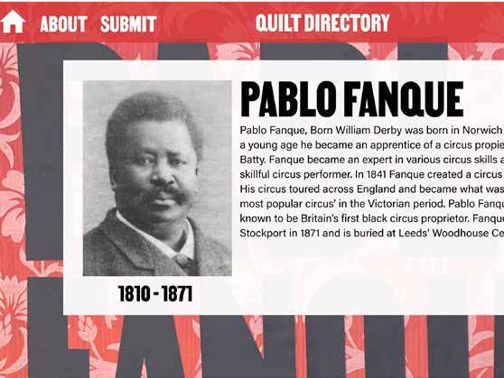 Screen grab of portrait of Pablo Fanque with biographical text