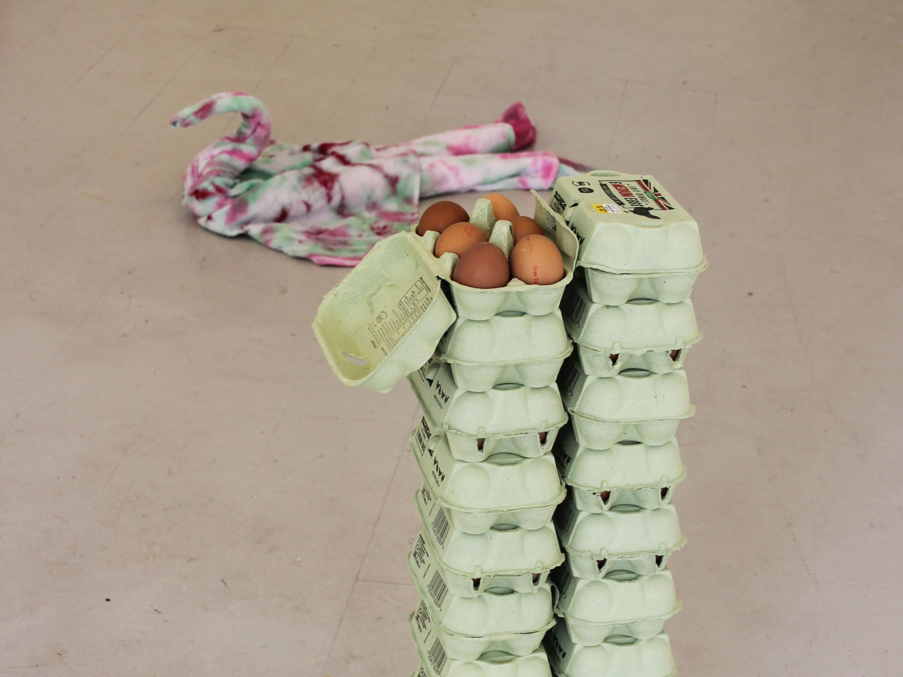 Photo of an egg carton and coloured textile installation featured in the You are the Good Morning exhibition at Honeymoon 226.