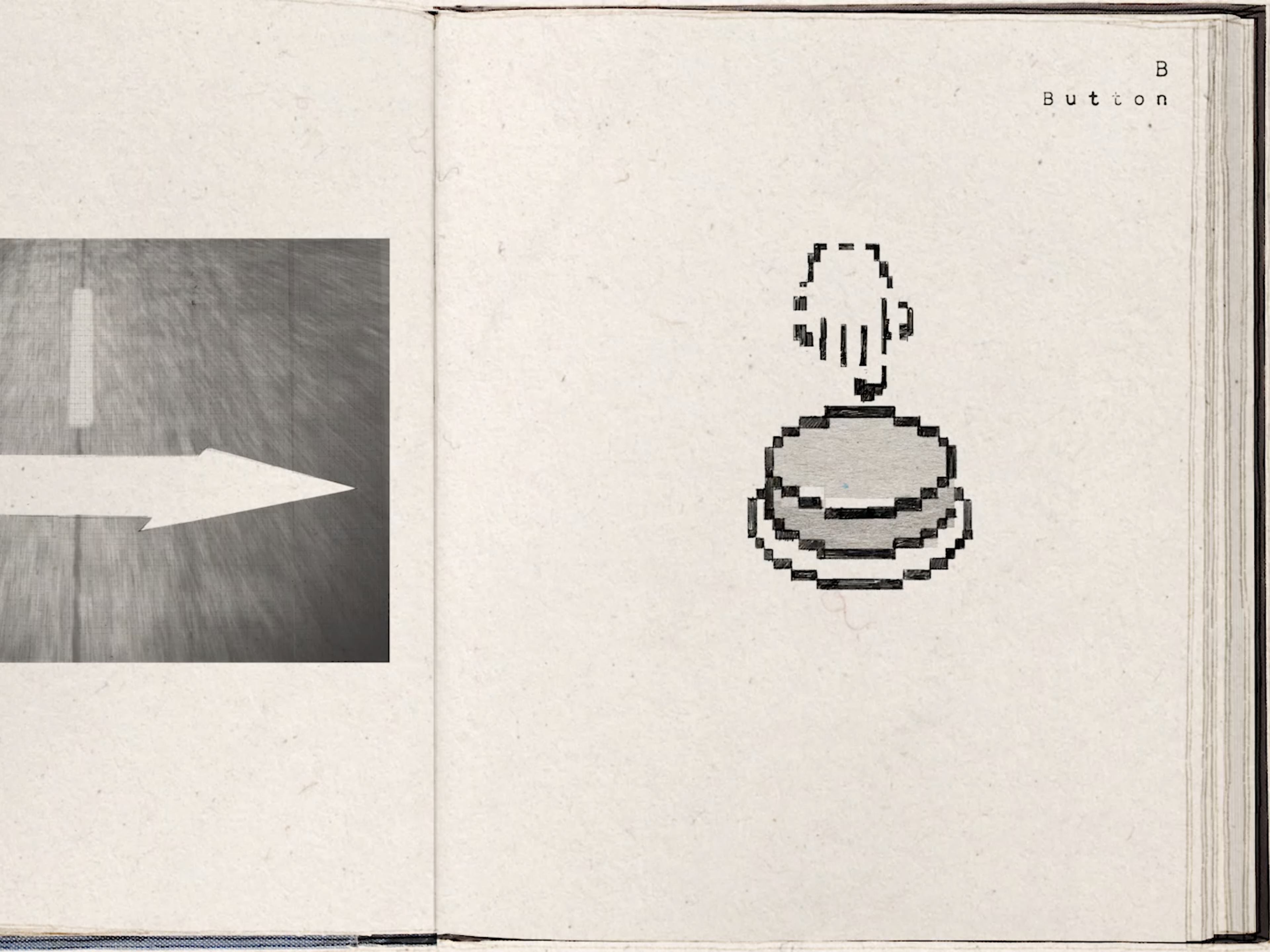 An open book. The left page shows an arrow poitning righ on a road. The right image is of a finger on a button