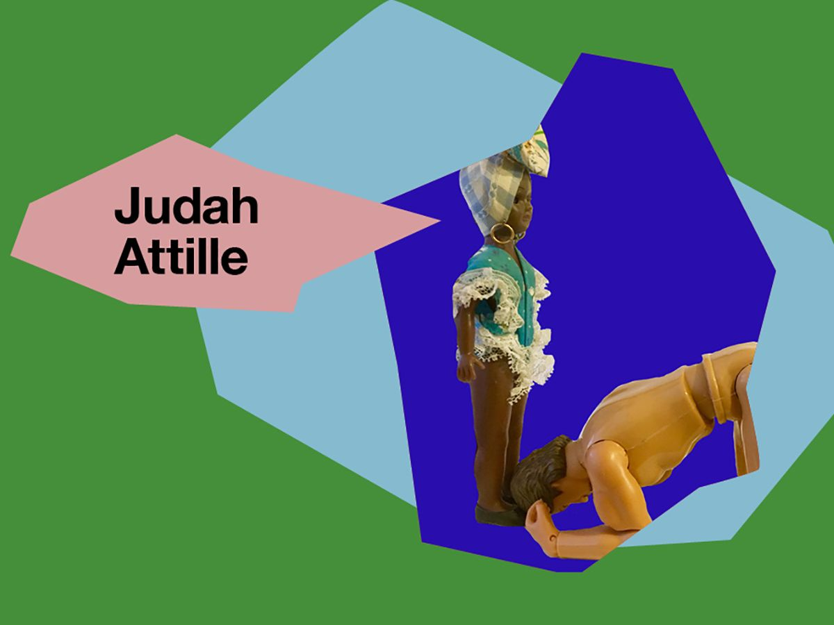 A collage-style image showcasing Judah's photograph, which features doll characters.