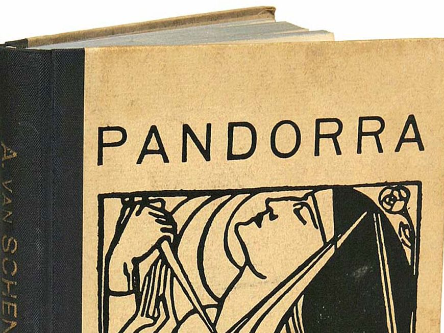 Photo of the front cover of a brown book with the word Pandorra written on it and drawing of a woman's head also visible
