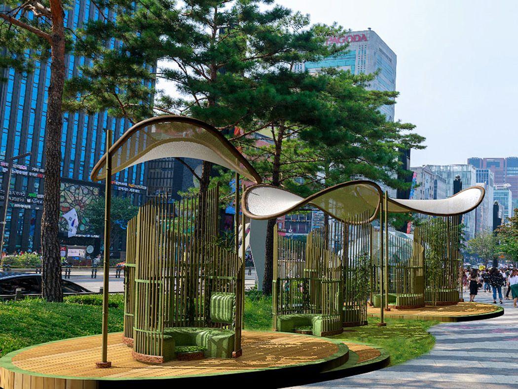 Concept art of a bamboo calm zone in a busy city centre.