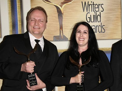 Rhianna Pratchett - Honorary Fellow (centre) with writers John Stafford and Cameron Suey, winners of the Outstanding Achievement in Videogame Writing award for 'Rise of the Tomb Raider, 2016 Writers Guild Awards in Los Angeles, California