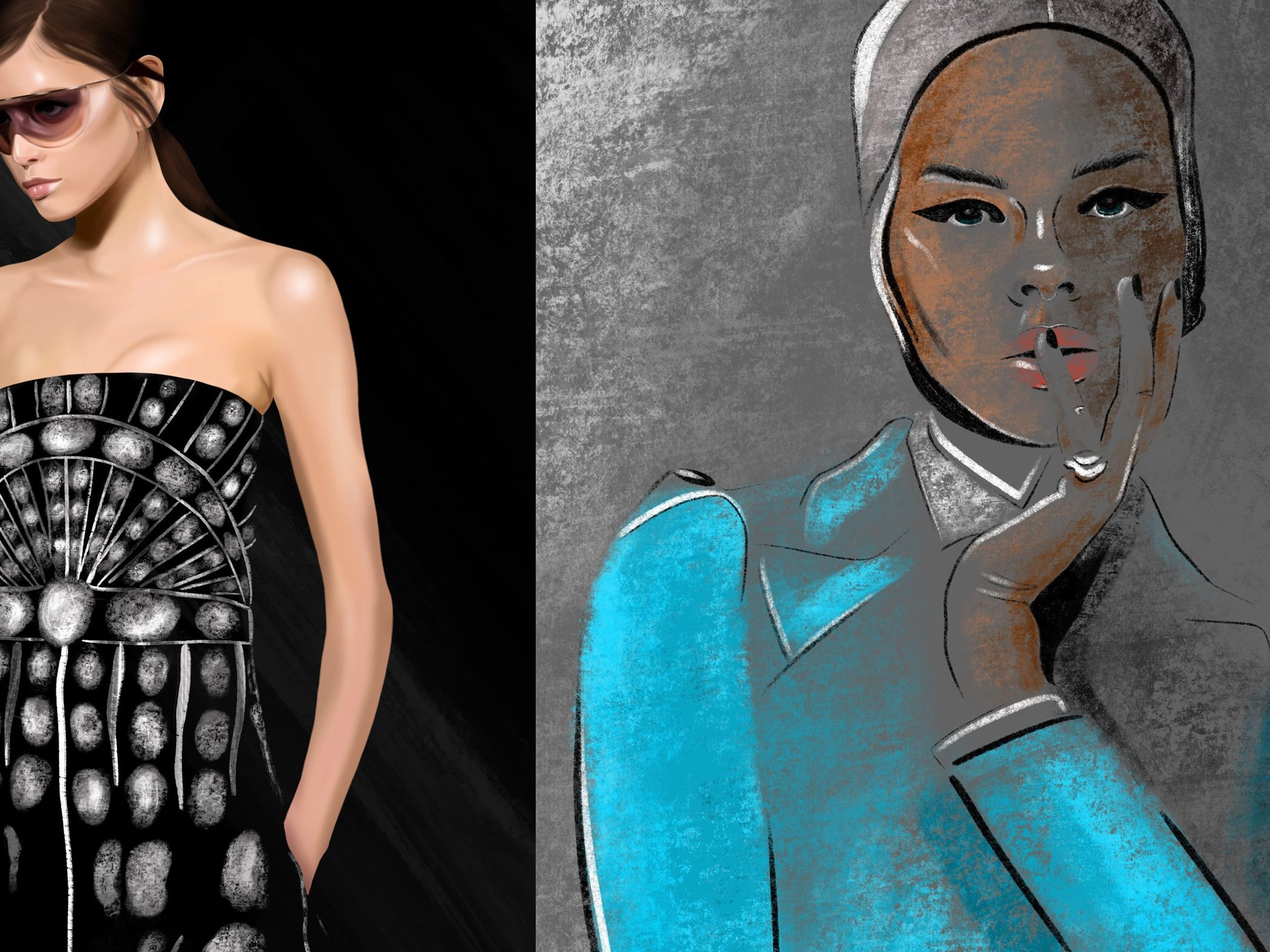 Compilation of three female fashion illustrations