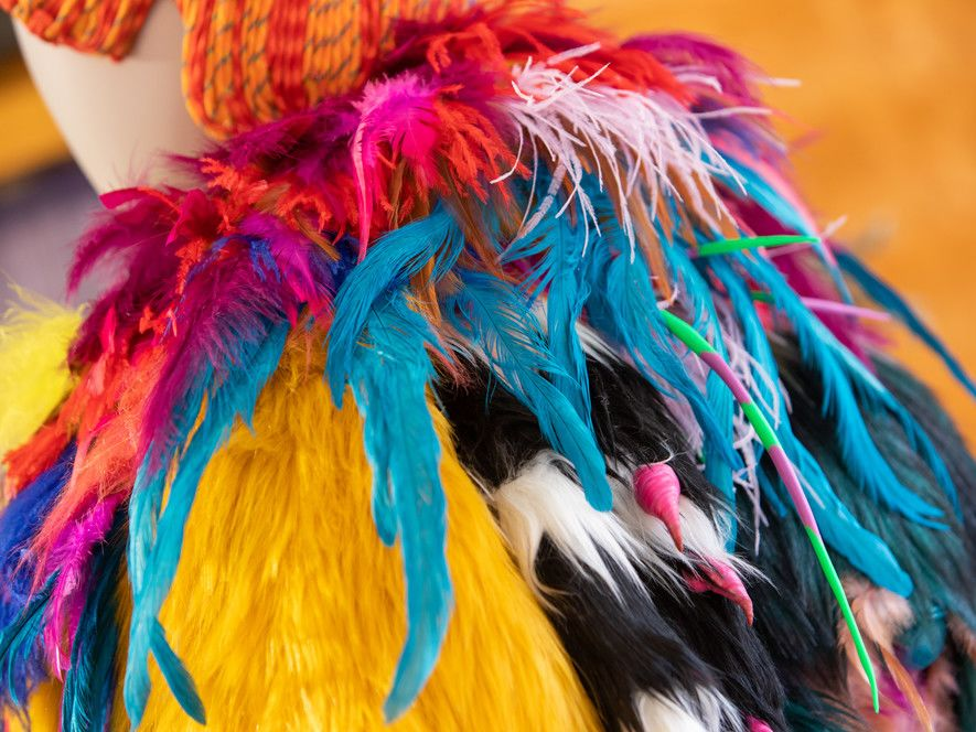 Close up of a colourful costume with lots of feathers and fur.