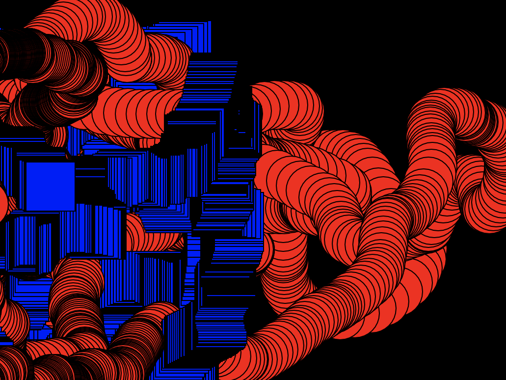 Computer generated abstract image featuring stacked red circles and blue squares on a black background