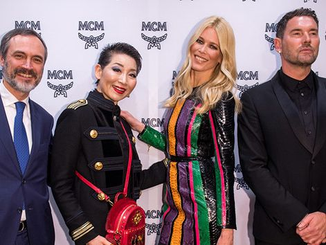 Sung-Joo Kim OBE - Honorary Doctor (centre) at MCM 40th Anniversary Event (with Paolo Fontanelli, Claudia Schiffer and Michael Michalsky)