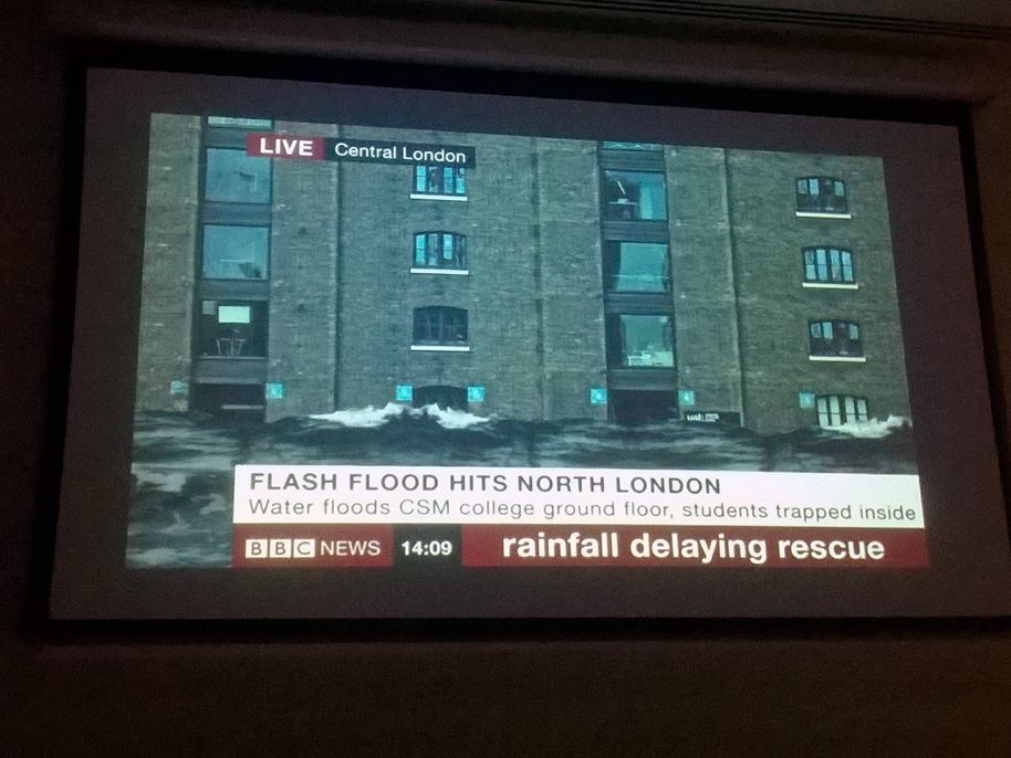 Screenshot of the news showing a picture of the CSM building with the headline