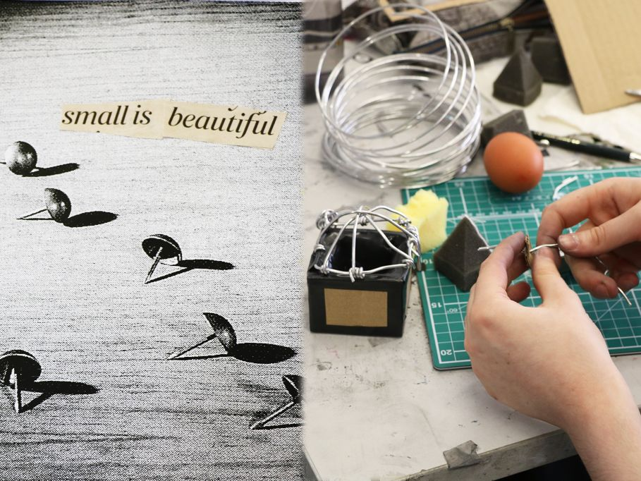 Creating Your Creativity student work and collage - picture of a pin with