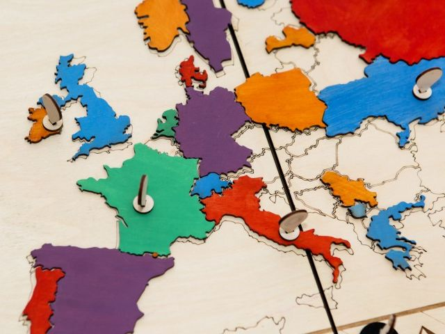 Map of Europe in different colours