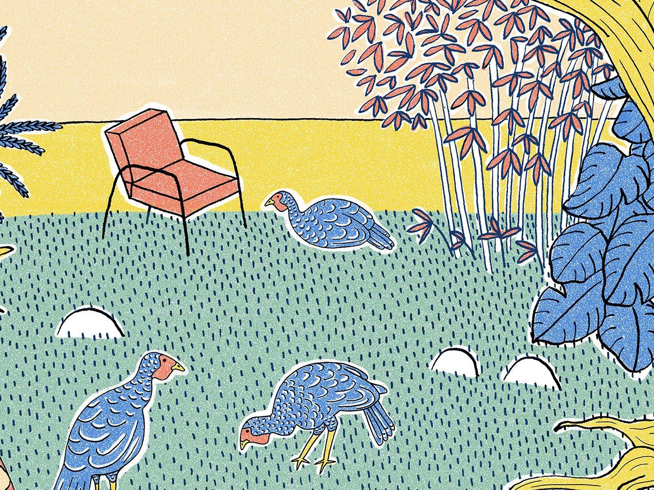 Illustration of a tropical garden scene.