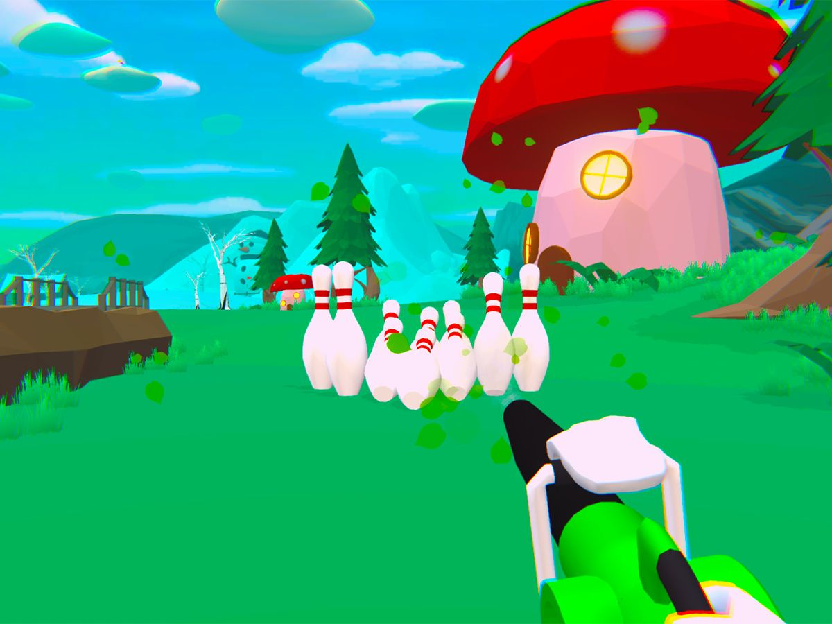 A still of Will it Golf, set in a forest-themed level.