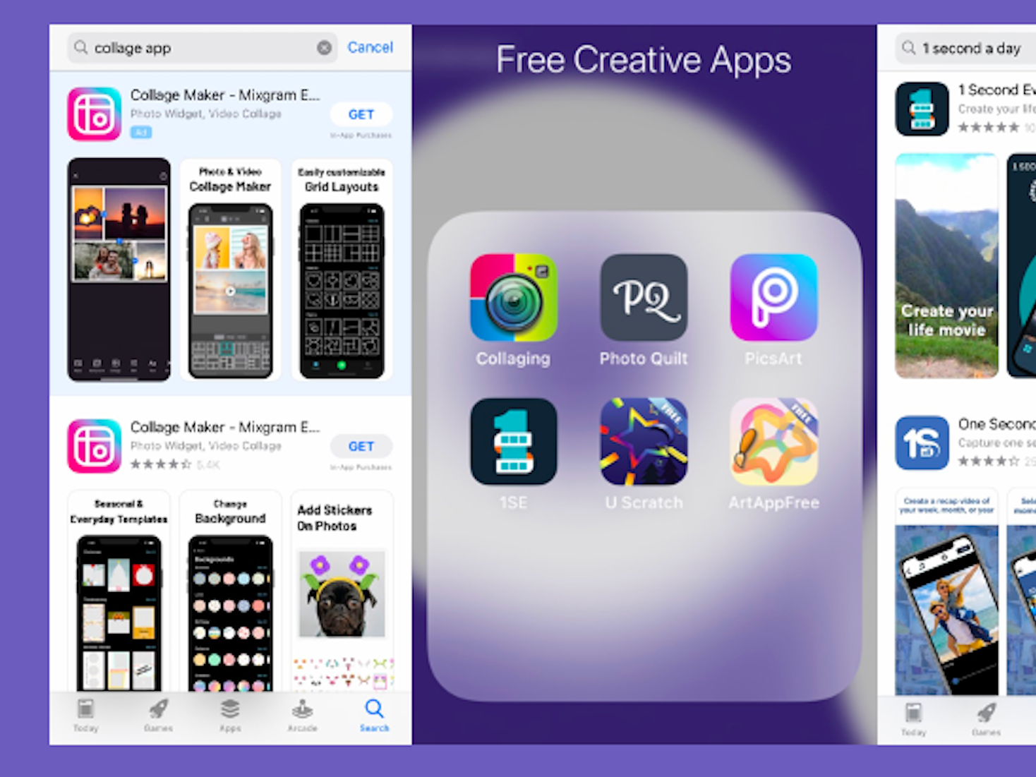 A collage of screenshots displaying creative phone applications