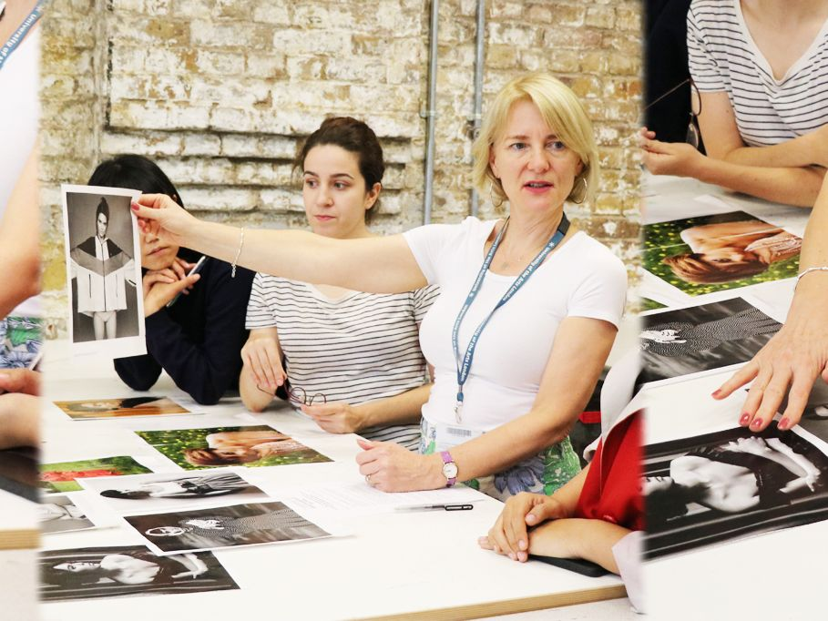 Triptych of Schelay McCarter working with students, looking at photographs of fashion models.