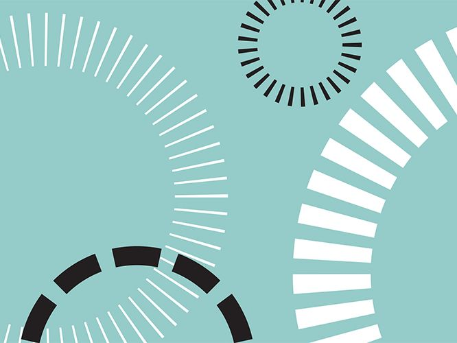Decorative image of turquoise background with 4 dashed circles