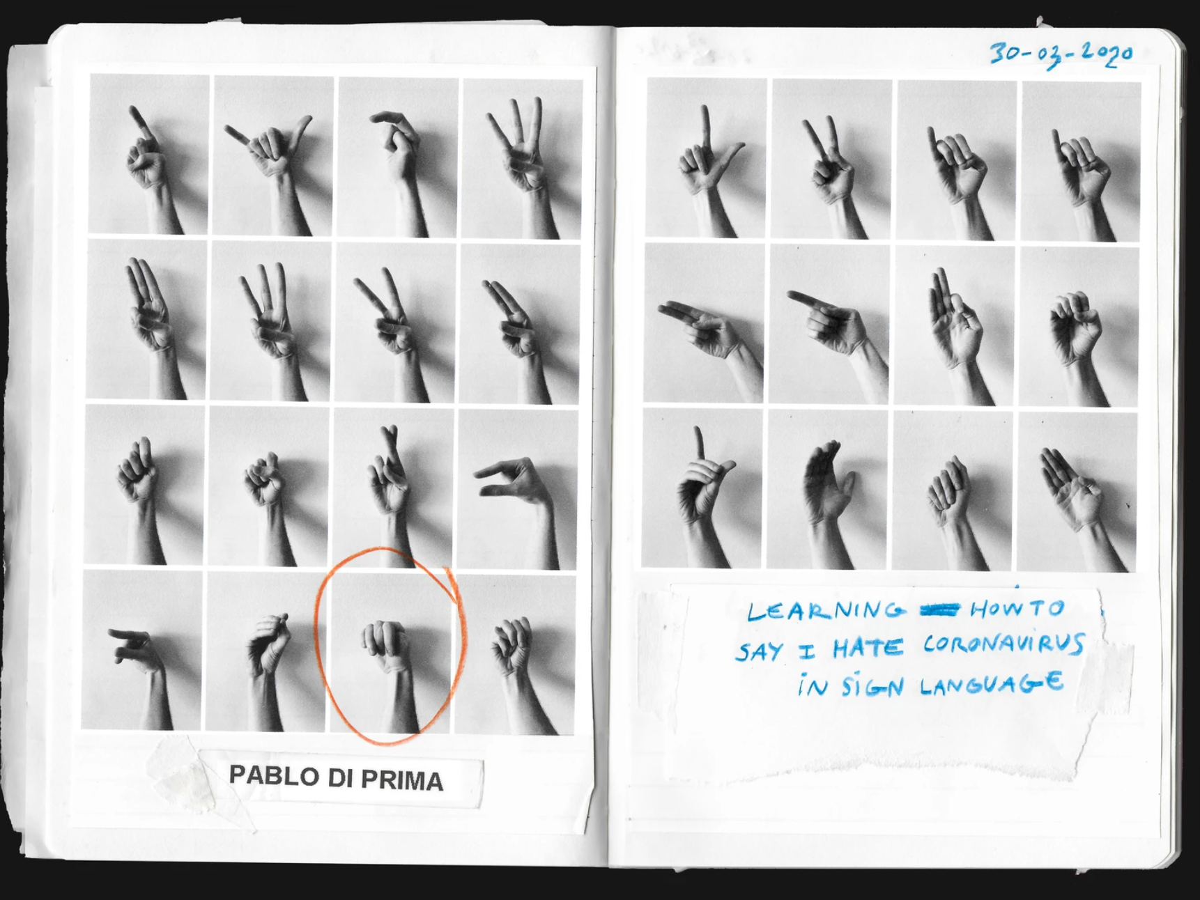 Collection of black and white phogtographs of hands making different signs