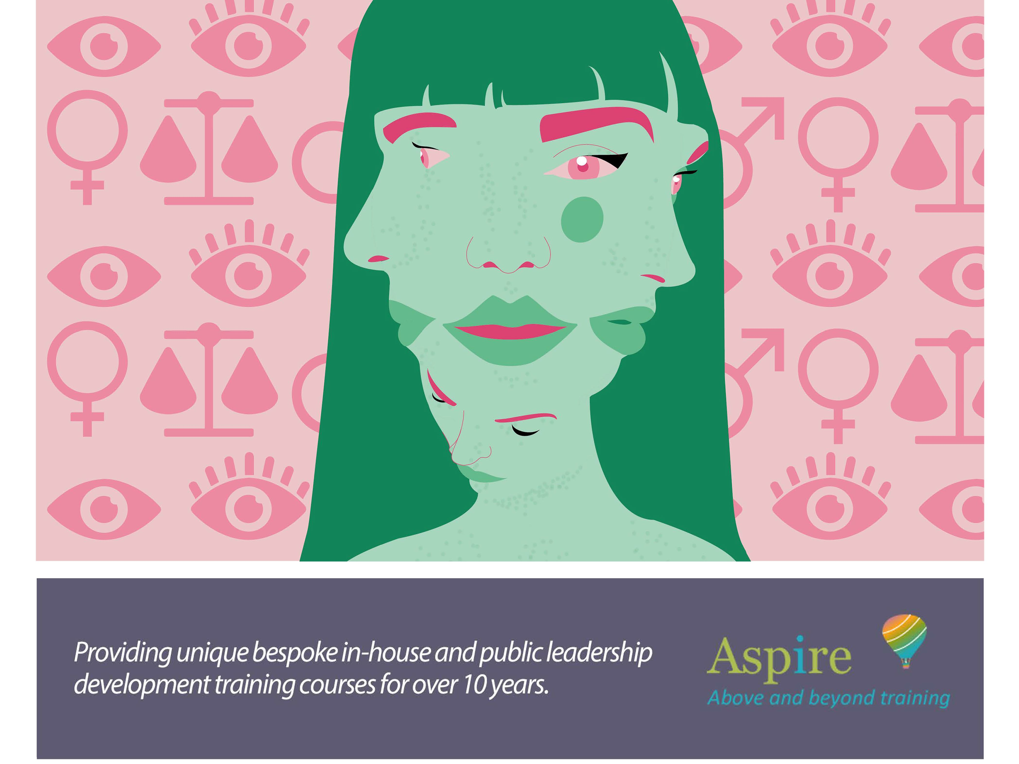 Illustration of a green face on a pink background