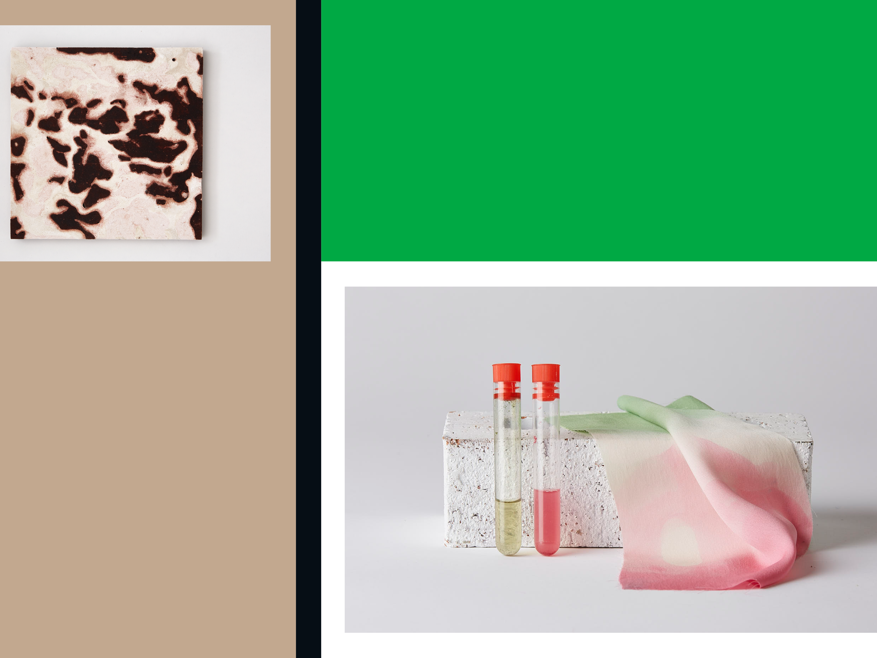 Composite image with green and brown blocks and two images of work (one brown tile and one red material with glass vials)