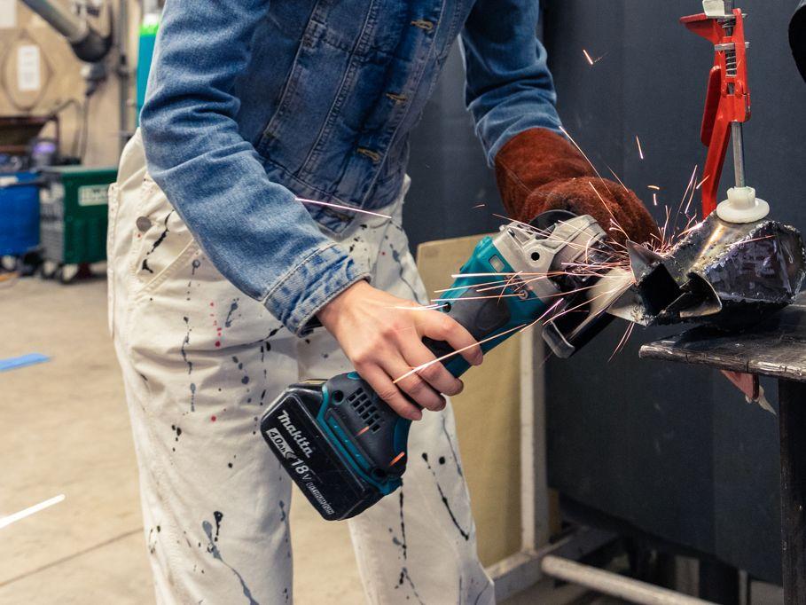 Student working in metalwork studio