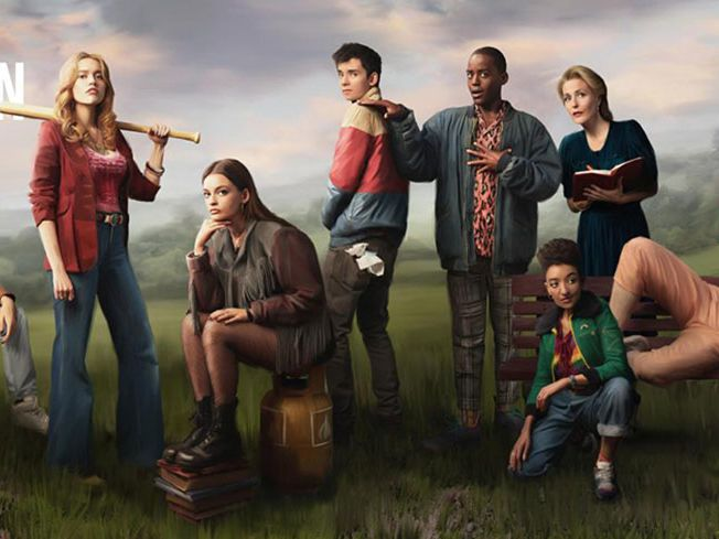 A promotional banner featuring the cast of the Netflix series, Sex Education.