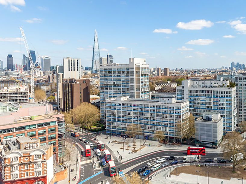 Image shows the view overlooking Elephant and Castle from LCC's Tower Block.