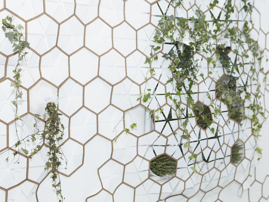 A cork structure made of hexagonal shapes on a wall  with green plants entiwned