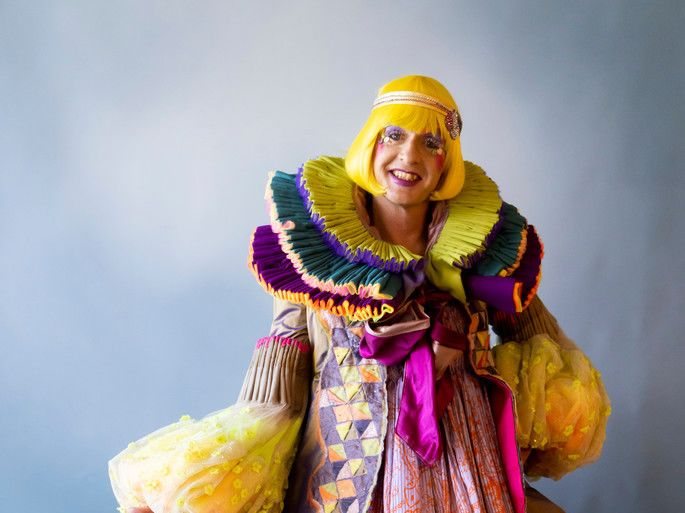 Grayson Perry in brightly coloured robes