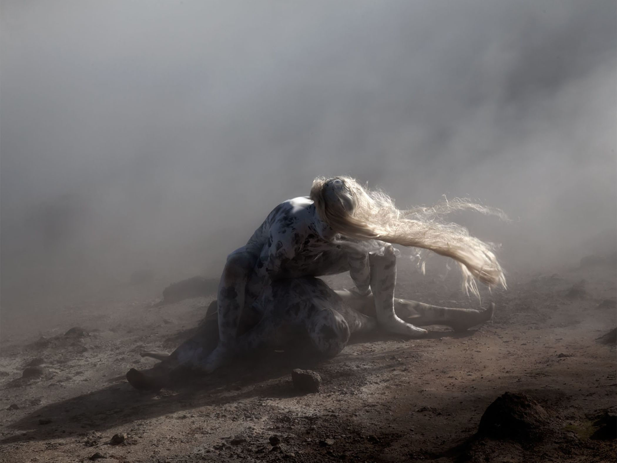 Photo from Once, a series by Beverley Carruthers, which features a shrouded figure on a misty moor.