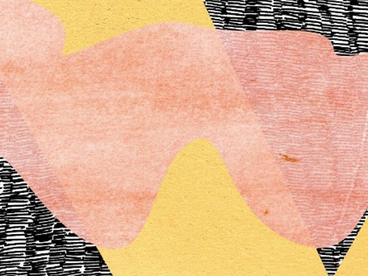 abstract image of peach and grey striped artwork