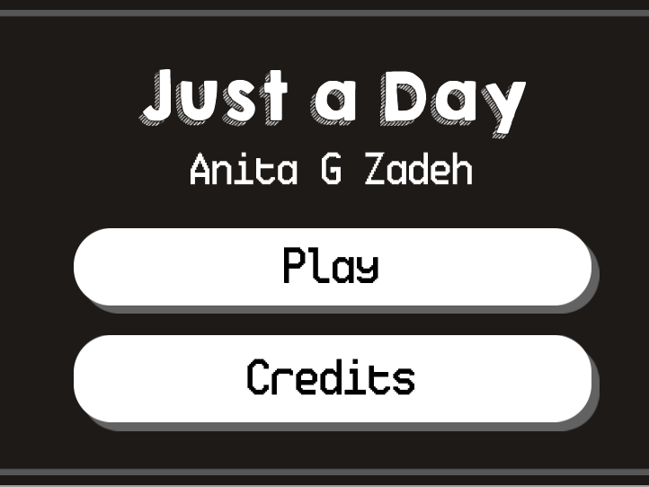image of game with play and credits button. black background with white buttons.