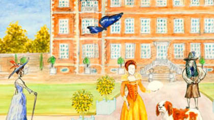 Pencil drawing of an English country house. Different characters are in the foreground while a butterfly floats across the scene.