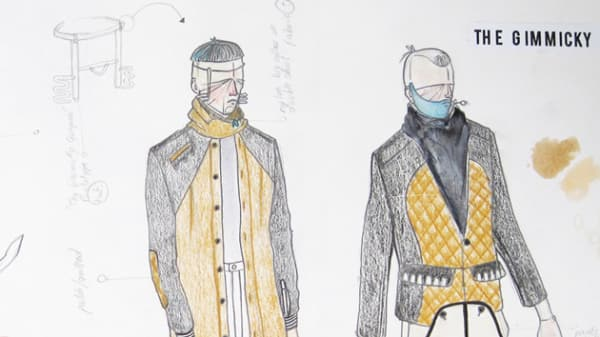 Drawings of clothing on model
